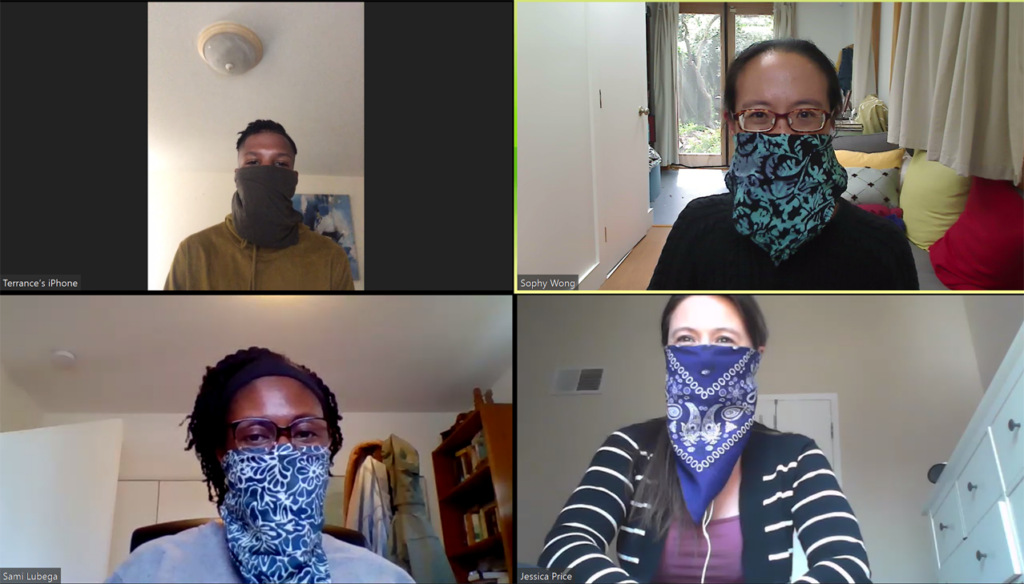 Photo of core team and AETC colleague wearing face coverings